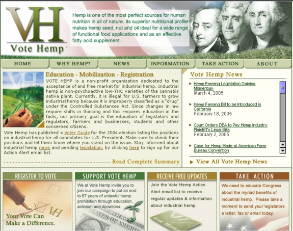 New Vote Hemp Web Site